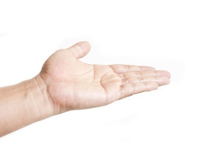 give your hand as white isolate background