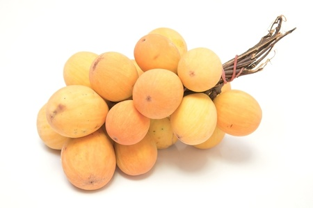 Yellow forest fruit in thailand as white isolate background photo