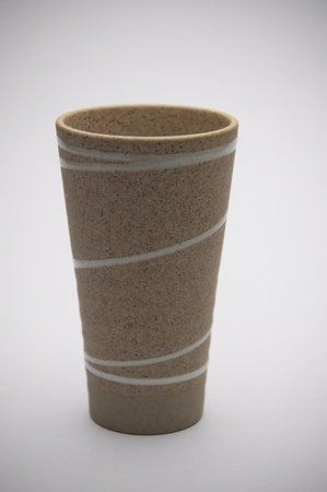 clay tea cup as isolate background photo