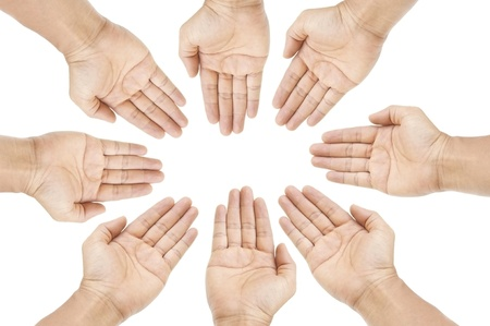 human group hand as white isolate background photo