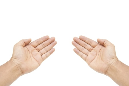 two human hand as white isolate background