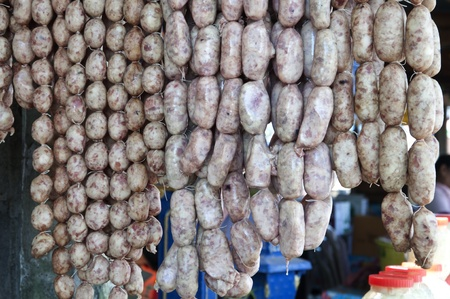 thai sausage one kind to store food in thai tradition food photo