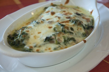 Spinach baked with cheese photo