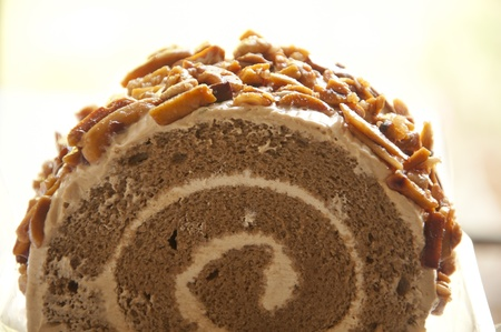 Roll coffee cake with Almonds Stock Photo - 13123965