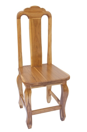 teak wooden chair as white isolate background photo