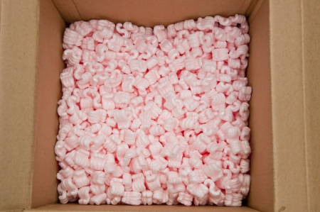 foam safe: pink packing foam in paper boxes