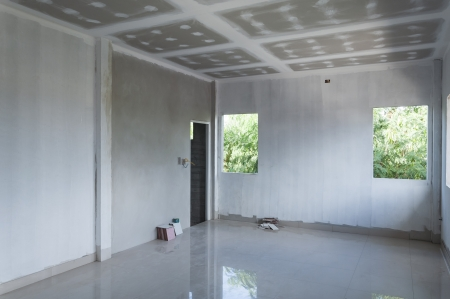 white empty room under construction photo