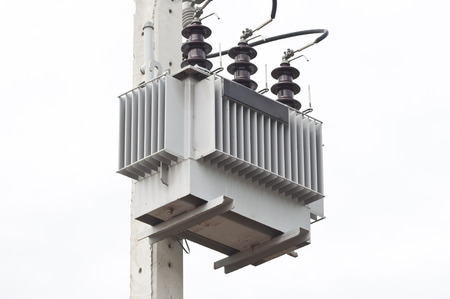 sub station: ELECTRICAL SUB STATION TRANSFORMER AS WHITE ISOLATE BACKGROUND Stock Photo