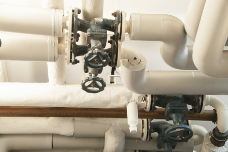 breakage: Heating pipes in the boiler room Stock Photo