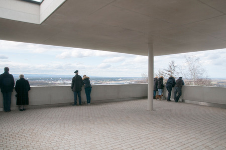 observers: Observation deck at Tower Mountain in Karlsruhe Durlach Stock Photo