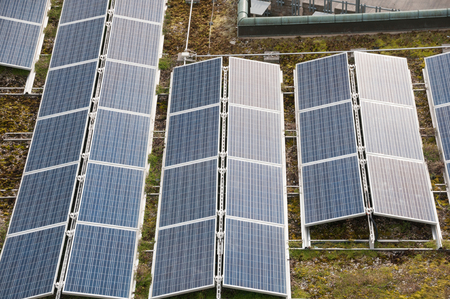 electricity prices: Solar panels on flat roofs, Stock Photo