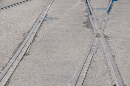 another way: Railroad track with junction Stock Photo