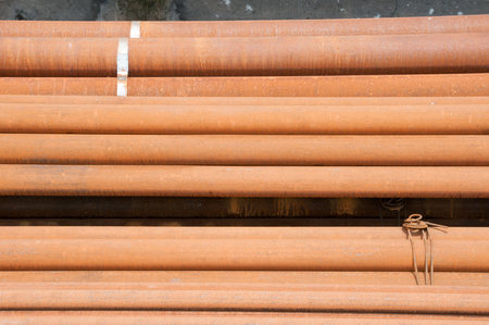 node: Wire node on steel pipes Stock Photo