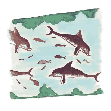 Dolfijnen en vissen in Knossos paleis, Kreta eiland, Griekenland. Stock Illustratie