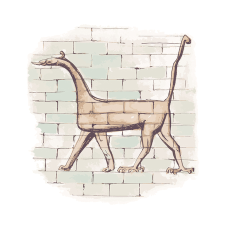 Figure of Dragon from Ishtar Gate of Babylon Illustration