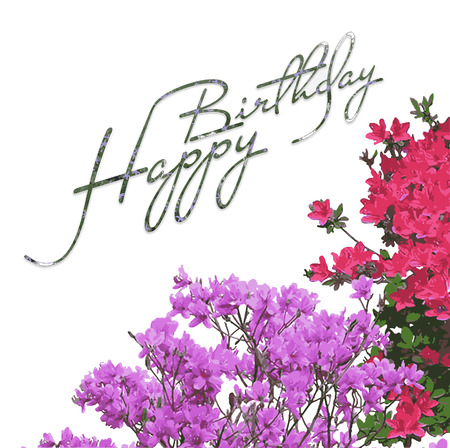 Happy Birthday Flowers Greeting Card Vector Picture Royalty Free