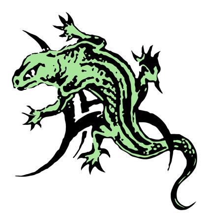 Vector de tatuaje de lagarto Verde gran idea de área de hombro