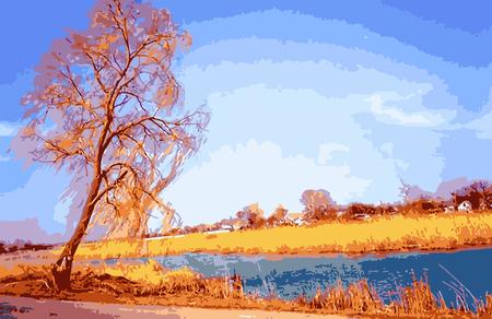 Nature oil painting vector graphics Ilustração