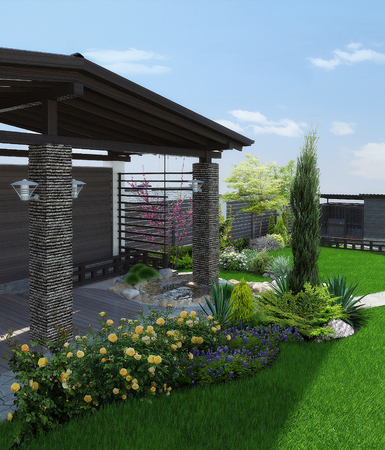 Natural character of the site into the design. Example of patio arrangement. Фото со стока - 89289234