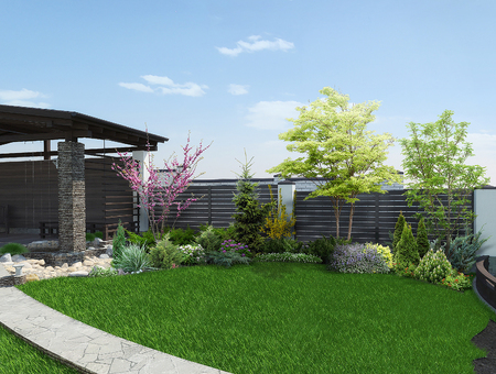 forsythia: Natural character of the site into the design. Example of patio arrangement.
