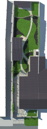 완전히 설명 된 사이트 개발 계획. 완벽한 정원 조경.
