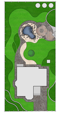 Plot plan of the property isolated over white background. Complete garden landscaping.