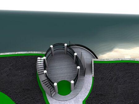 Three-dimensional visualization of modern gazebo overlook the sea. Stock fotó