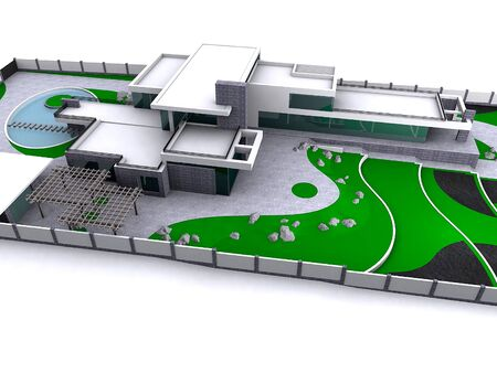 Yard landscape design illustration, planting of greenery bird's eye view Stock fotó