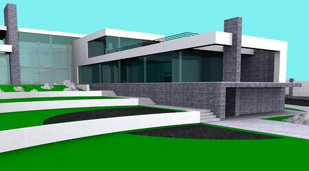 3d visualization of villa modern design.