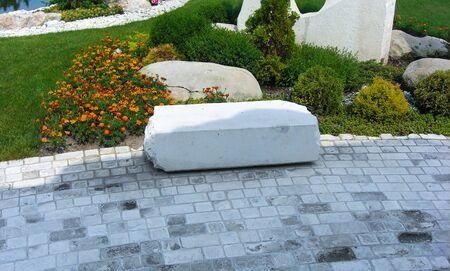 Ornamental pattern in patio paving. Stock fotó