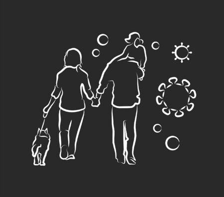 Outbreak infographic sign, family walking vector illustration