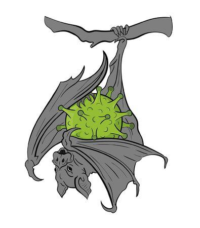 bat and virus illustration Vector