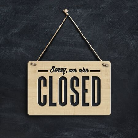 Hanger sign says sorry, we are closed, 3D illustration Stock fotó