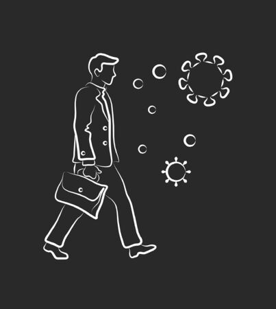 stay home don't go to work during an epidemic. Man goes to work icon. Epidemic, pandemic, icons, infographics vector Illustration