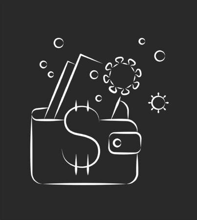 Coronavirus pulls money out of wallet, allegorical crisis illustration, vector