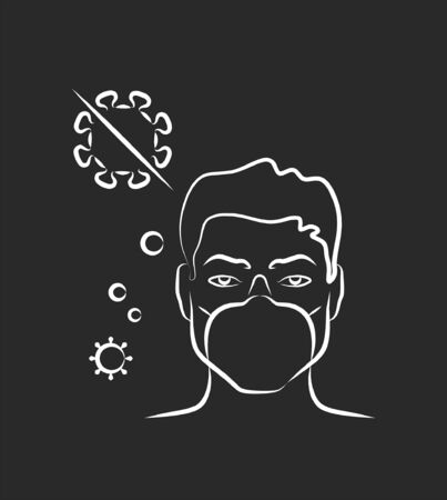 Protect yourself, wear a mask. Antibacterial and antivirus protection, a man in a medical mask. Epidemic, pandemic, icons, infographics vector