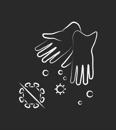 Antibacterial and antivirus protection, Medical rubber gloves icon. Epidemic, pandemic, icons, infographics vector Vectores