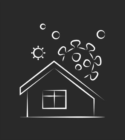 Self isolation home icon, infographic vector illustration 向量圖像
