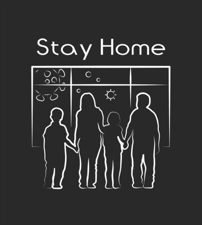 Stay home icon. Family in front of the window. Epidemic, pandemic, icons, infographics vector Illustration