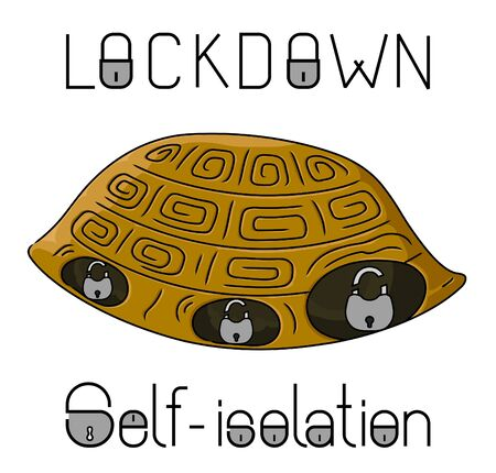 Lockdown allegorical caricature, scared turtle hiding in shell, vector illustration