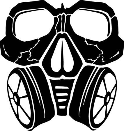 Skull in respirator. Hazard danger abstract symbol graffiti, vector Illusztráció