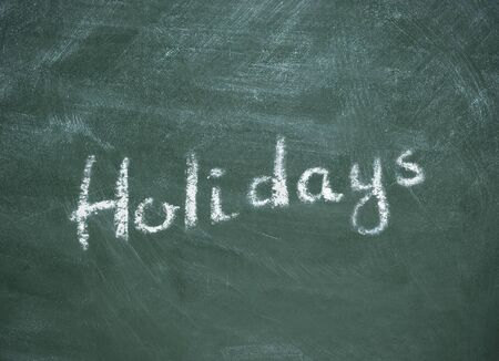 Holidays. Lockdown quarantine banner on green chalkboard, background illustration
