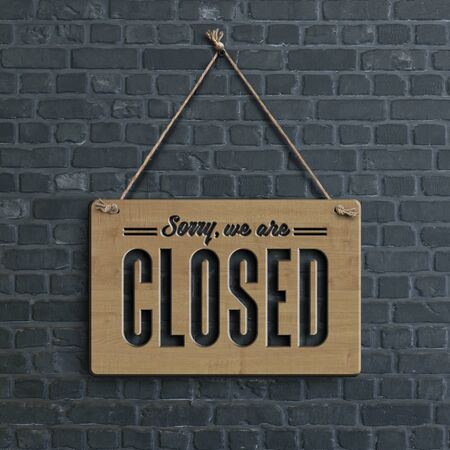 Sorry We are Closed banner on black brick wall, illustration