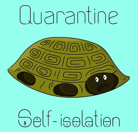 Quarantine and self isolation ironic illustration, vector graphics