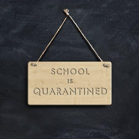 Hangs sign saying school is quarantined, 3D illustration Stock fotó