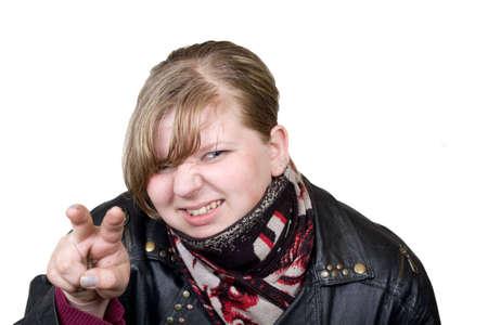 agressive: agressive girl in black leather jacket Stock Photo