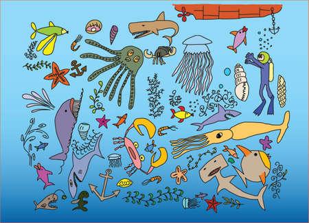 hand drawn sea crestures Stock Vector - 5295909
