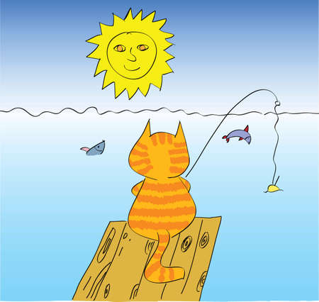 hand drawn cat fishing Vector
