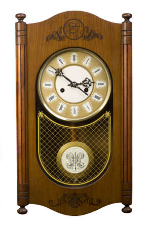 wall old wooden clock isolated photo