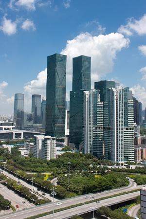 Modern city skyline and highway at Shenzhen